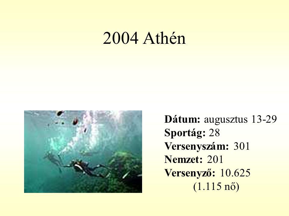 2004 Athén Dátum: augusztus 13-29 Sportág: 28 Versenyszám: 301