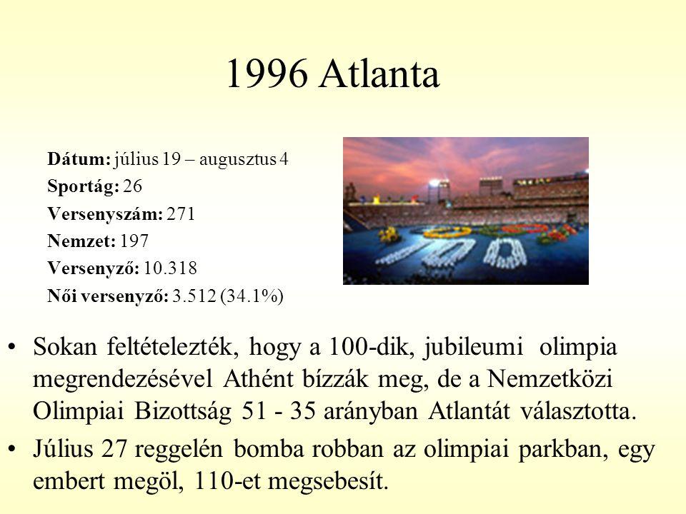 1996 Atlanta Dátum: július 19 – augusztus 4. Sportág: 26. Versenyszám: 271. Nemzet: 197. Versenyző: 10.318.