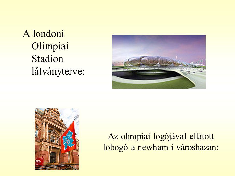 Az olimpiai logójával ellátott lobogó a newham-i városházán: