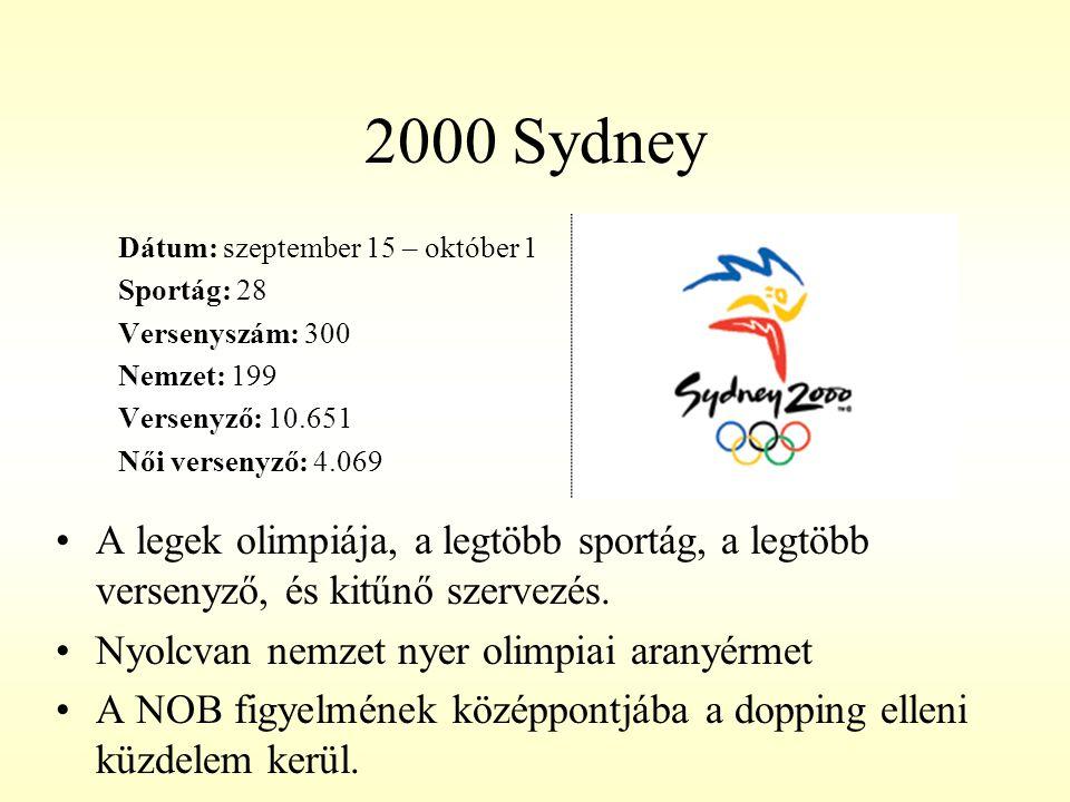 2000 Sydney Dátum: szeptember 15 – október 1. Sportág: 28. Versenyszám: 300. Nemzet: 199. Versenyző: 10.651.