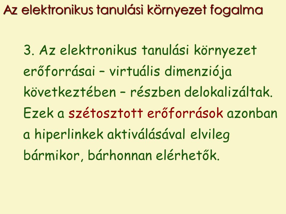 Az elektronikus tanulási környezet fogalma