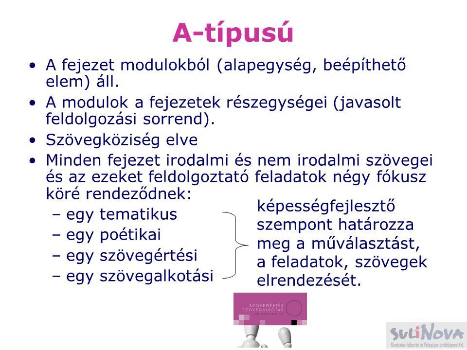 A-típusú A fejezet modulokból (alapegység, beépíthető elem) áll.