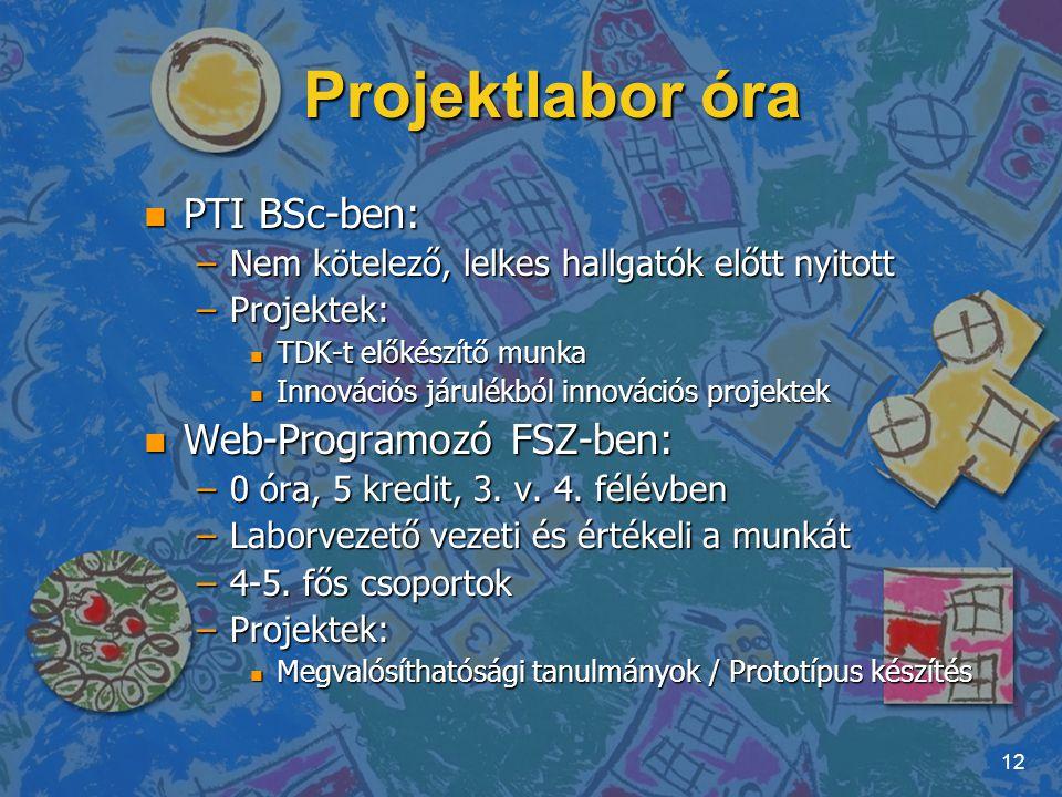Projektlabor óra PTI BSc-ben: Web-Programozó FSZ-ben: