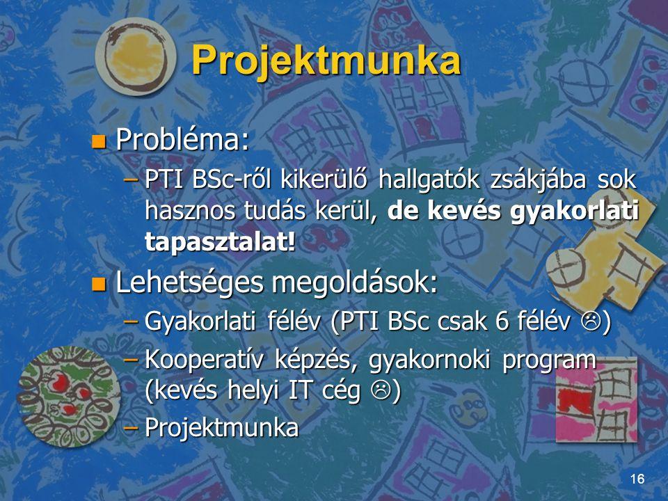 Projektmunka Probléma: Lehetséges megoldások: