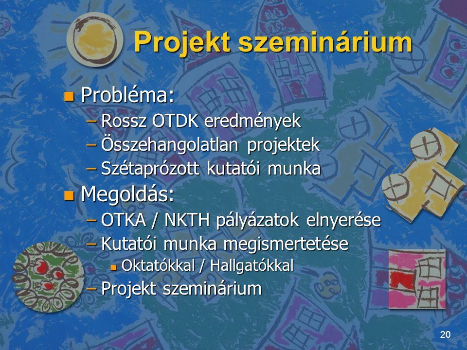 Projekt szeminárium Probléma: Megoldás: Rossz OTDK eredmények
