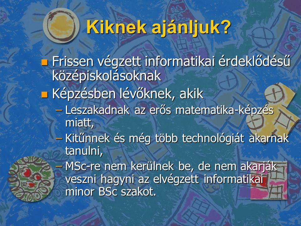 Kiknek ajánljuk Frissen végzett informatikai érdeklődésű középiskolásoknak. Képzésben lévőknek, akik.