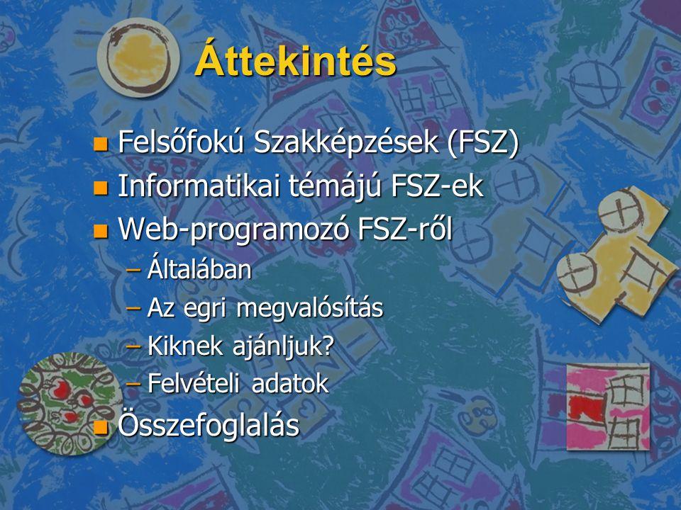 Áttekintés Felsőfokú Szakképzések (FSZ) Informatikai témájú FSZ-ek