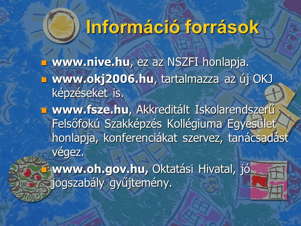 Információ források www.nive.hu, ez az NSZFI honlapja.