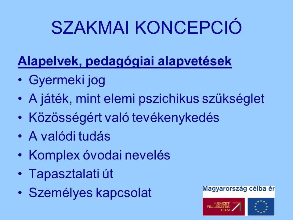 SZAKMAI KONCEPCIÓ Alapelvek, pedagógiai alapvetések Gyermeki jog