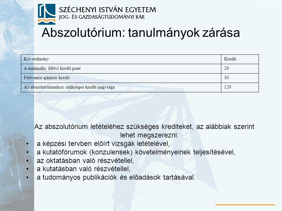 Abszolutórium: tanulmányok zárása