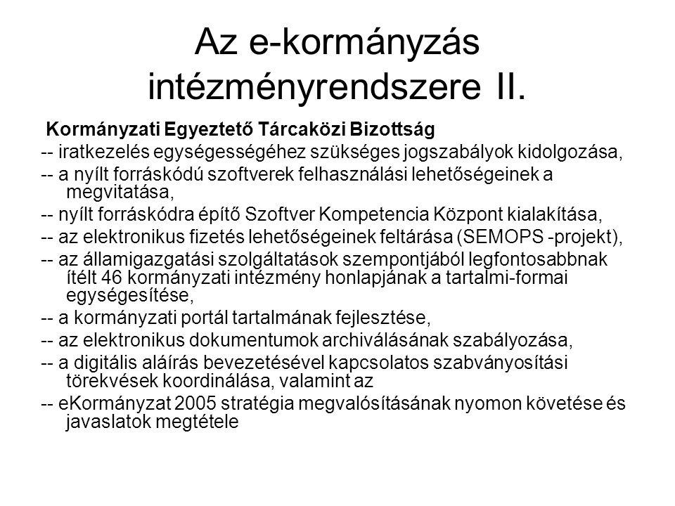 Az e-kormányzás intézményrendszere II.