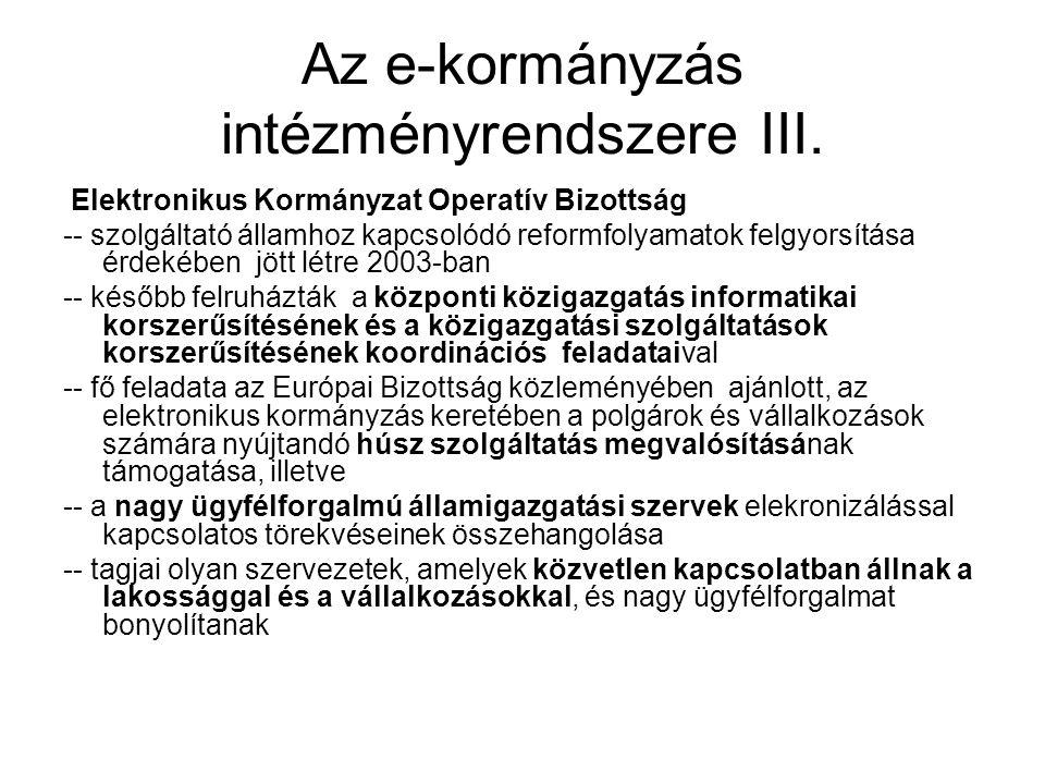 Az e-kormányzás intézményrendszere III.