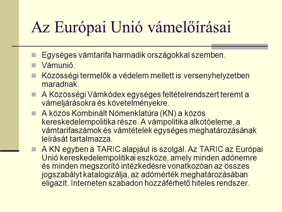 Az Európai Unió vámelőírásai
