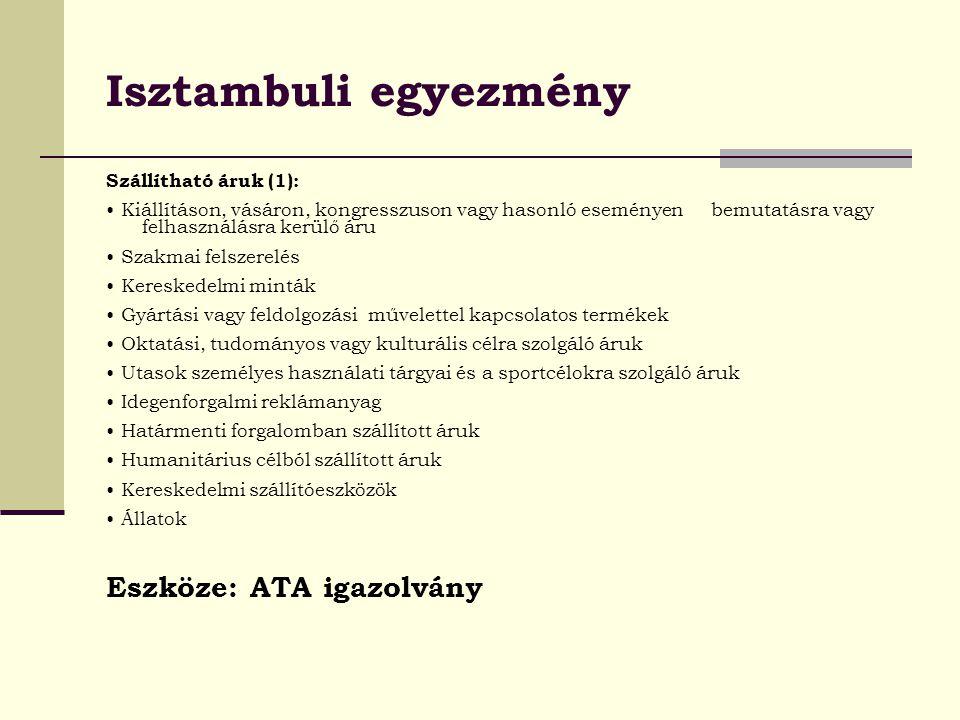 Isztambuli egyezmény Eszköze: ATA igazolvány Szállítható áruk (1):