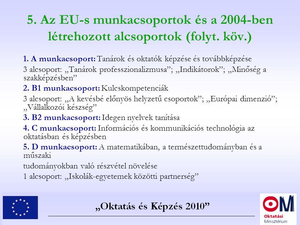 5. Az EU-s munkacsoportok és a 2004-ben létrehozott alcsoportok (folyt