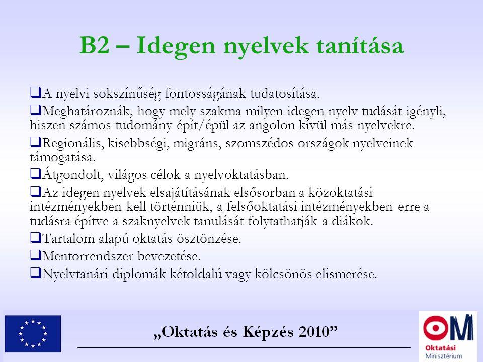 B2 – Idegen nyelvek tanítása