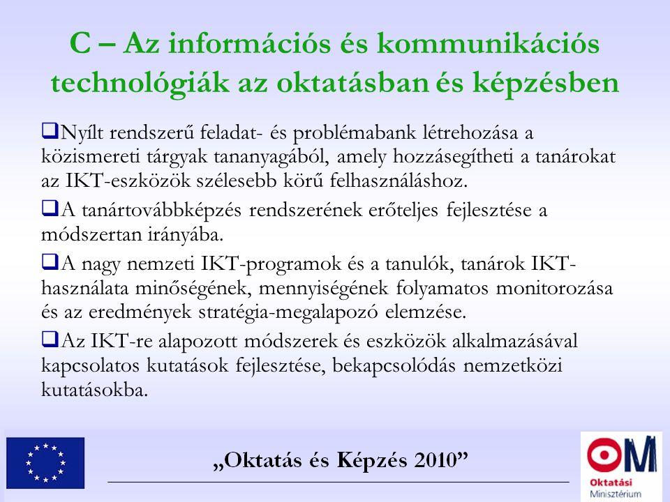 C – Az információs és kommunikációs technológiák az oktatásban és képzésben