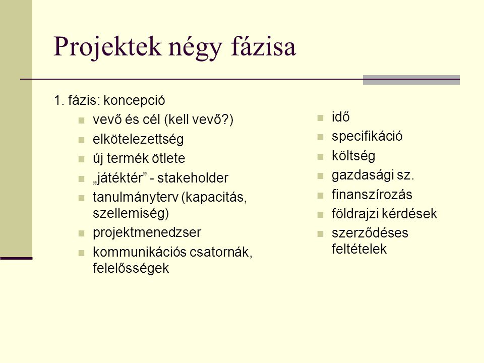 Projektek négy fázisa 1. fázis: koncepció vevő és cél (kell vevő )