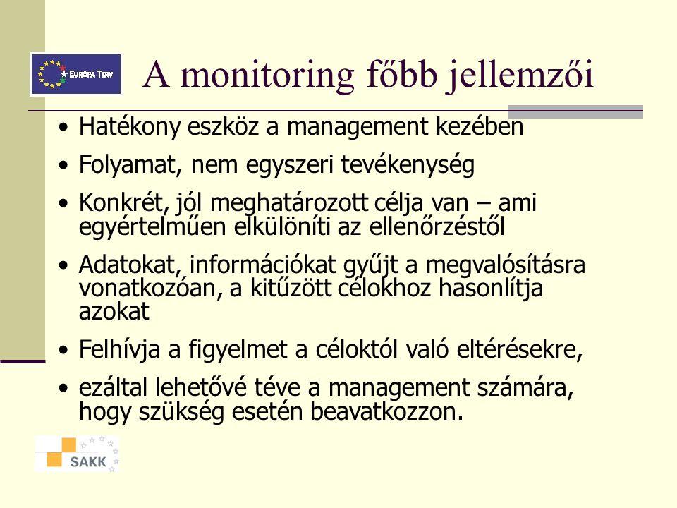 A monitoring főbb jellemzői