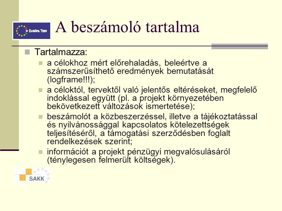 A beszámoló tartalma Tartalmazza: