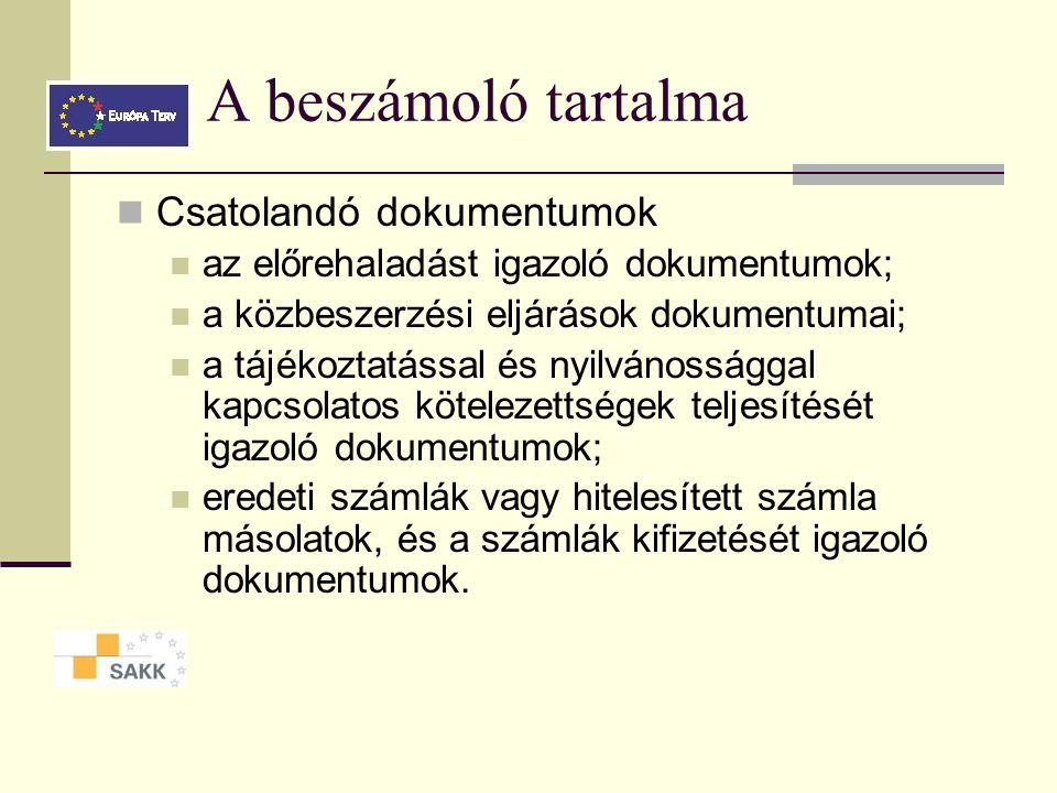 A beszámoló tartalma Csatolandó dokumentumok