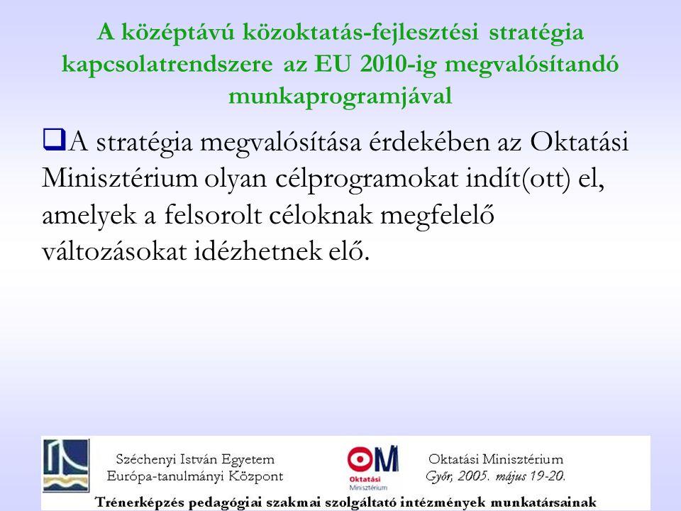 A középtávú közoktatás-fejlesztési stratégia kapcsolatrendszere az EU 2010-ig megvalósítandó munkaprogramjával