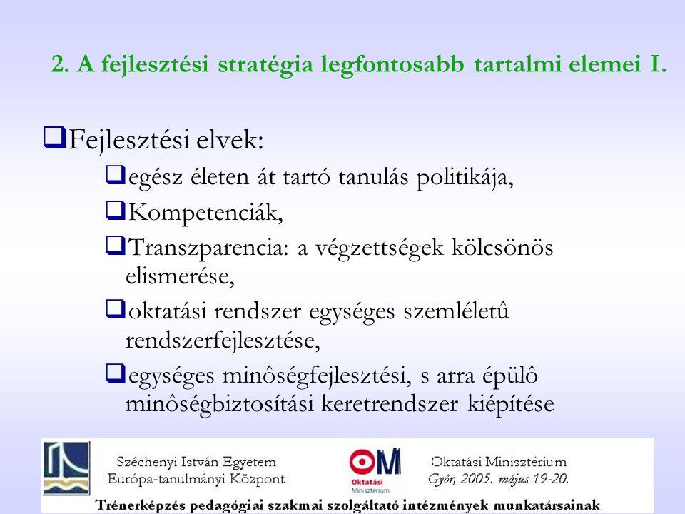 2. A fejlesztési stratégia legfontosabb tartalmi elemei I.