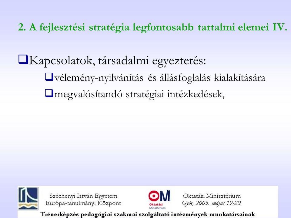 2. A fejlesztési stratégia legfontosabb tartalmi elemei IV.