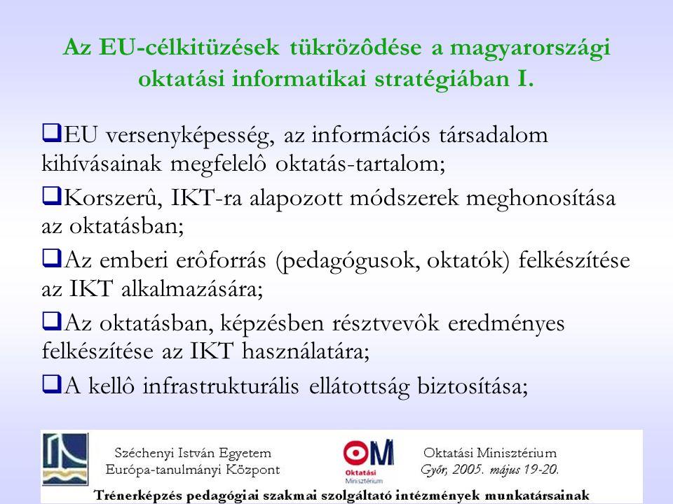 Az EU-célkitüzések tükrözôdése a magyarországi oktatási informatikai stratégiában I.