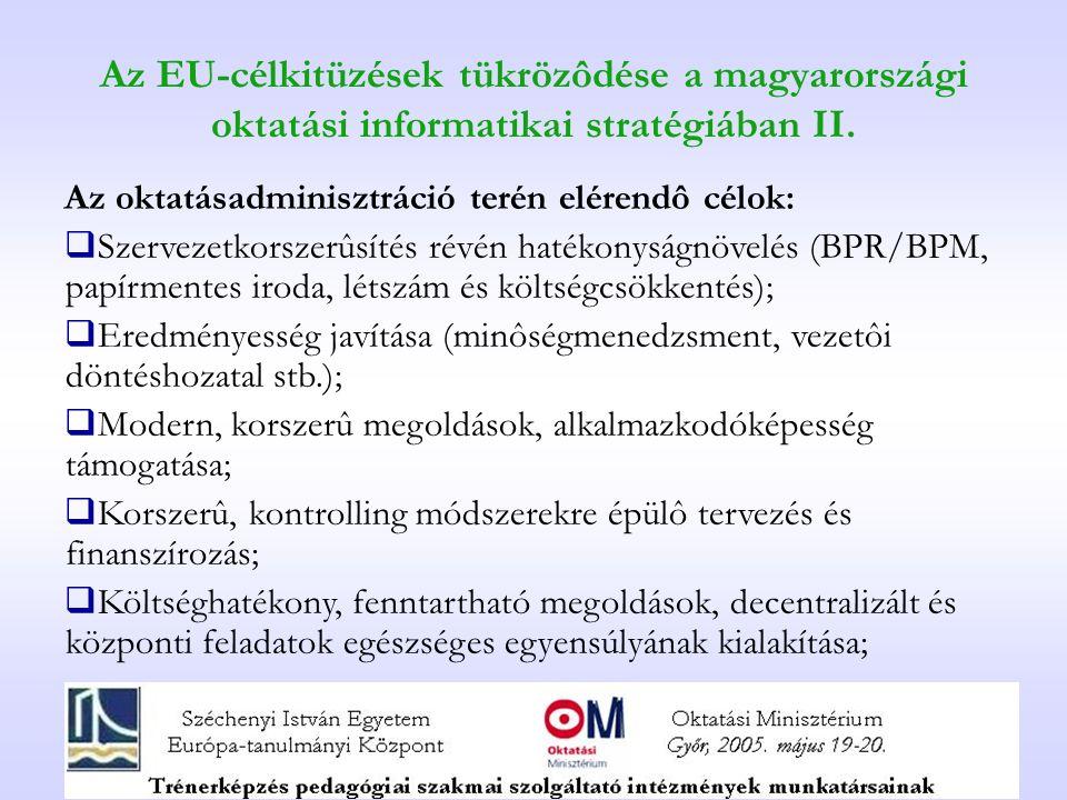 Az EU-célkitüzések tükrözôdése a magyarországi oktatási informatikai stratégiában II.