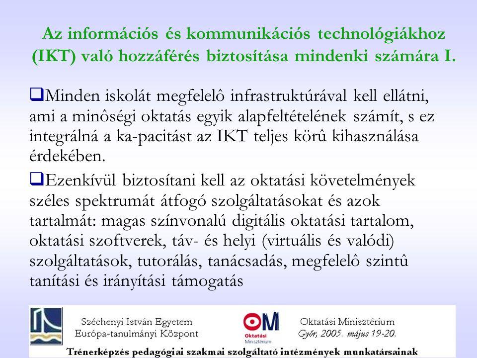 Az információs és kommunikációs technológiákhoz (IKT) való hozzáférés biztosítása mindenki számára I.
