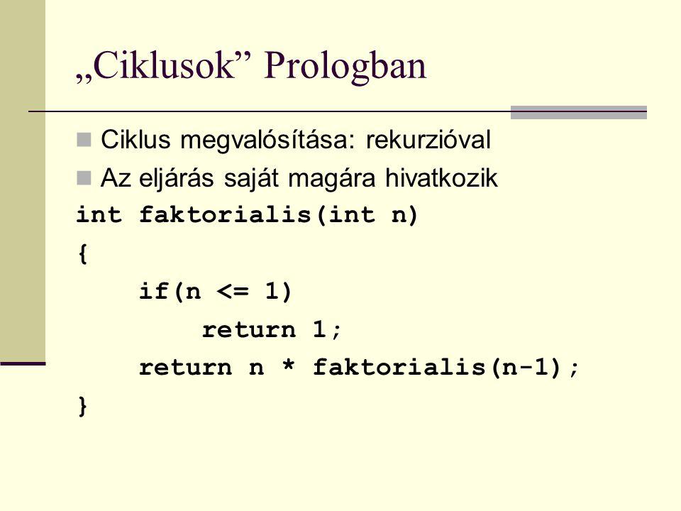 """""""Ciklusok Prologban Ciklus megvalósítása: rekurzióval"""