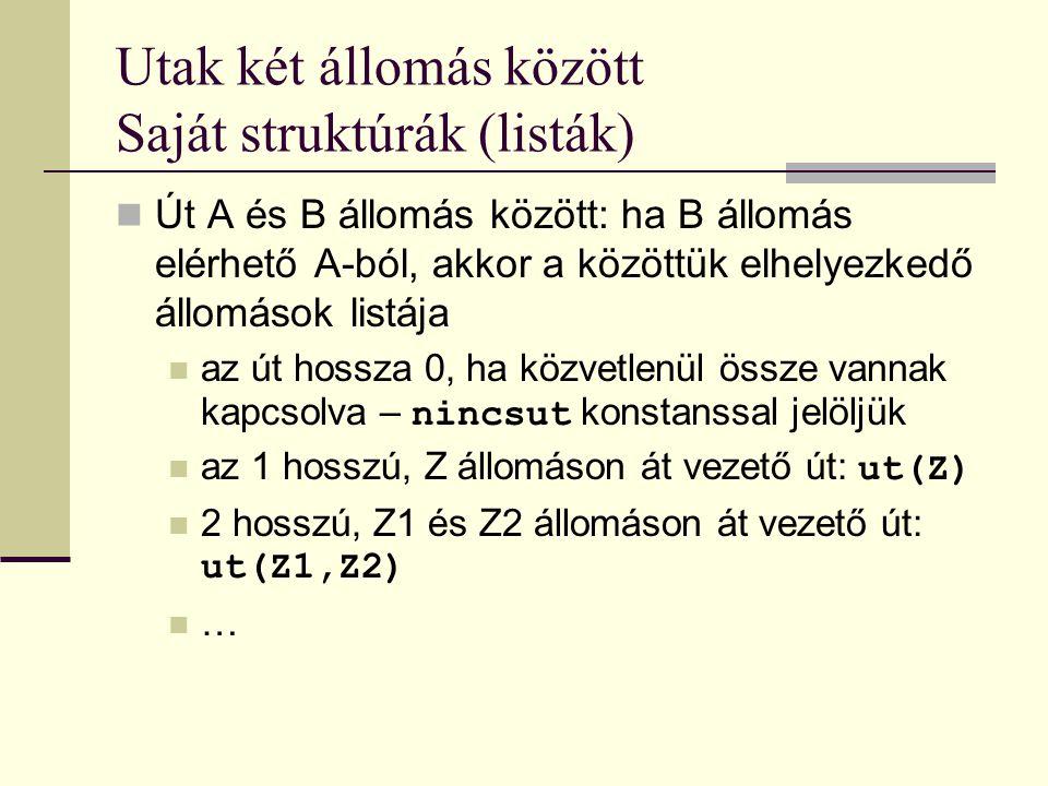 Utak két állomás között Saját struktúrák (listák)