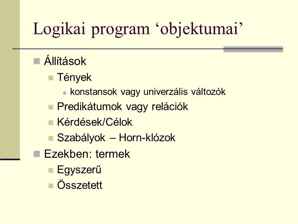 Logikai program 'objektumai'