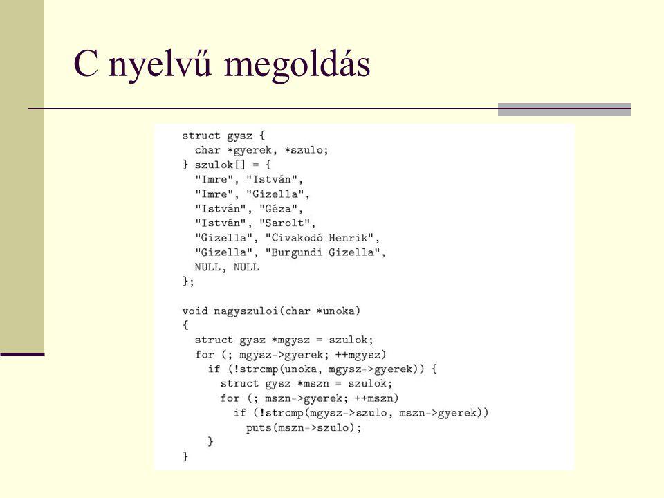 C nyelvű megoldás