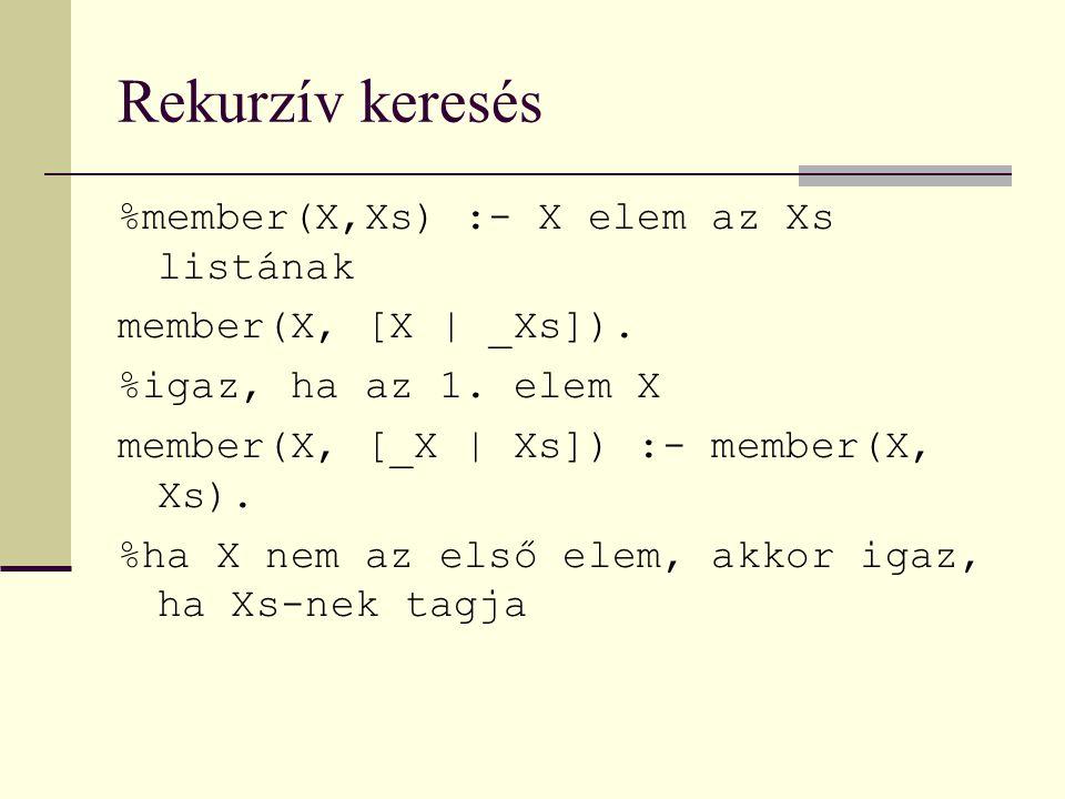Rekurzív keresés %member(X,Xs) :- X elem az Xs listának