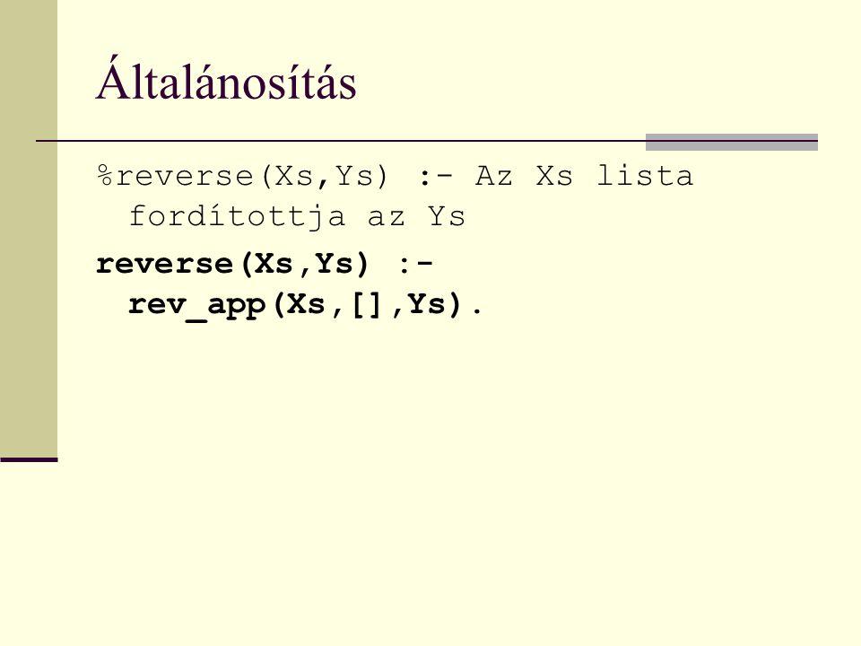 Általánosítás %reverse(Xs,Ys) :- Az Xs lista fordítottja az Ys