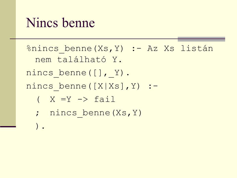 Nincs benne %nincs_benne(Xs,Y) :- Az Xs listán nem található Y.