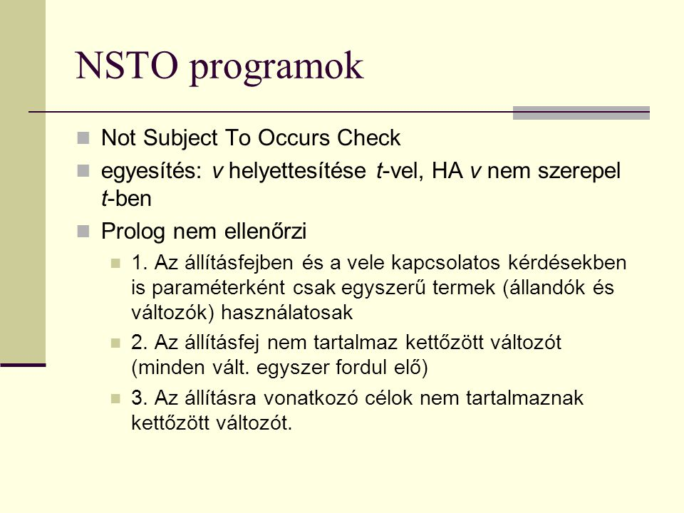 NSTO programok Not Subject To Occurs Check