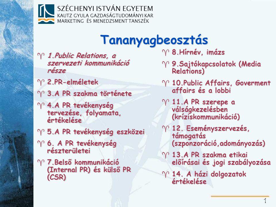 1.Public Relations, a szervezeti kommunikáció része