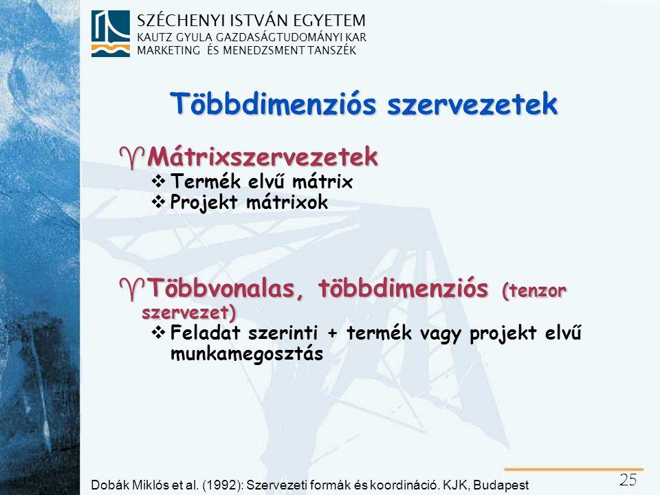Mátrixszervezet Dobák Miklós és Bakacsi Gyula nyomán - saját ábra