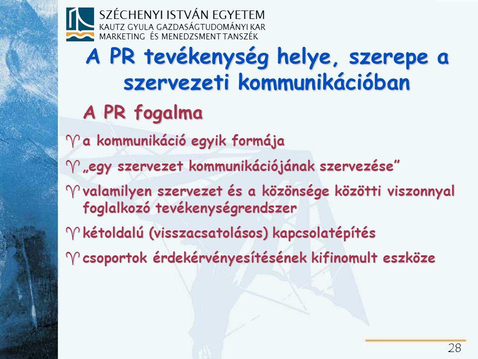 PR= általánosan elfogadott magyar megfelelője nincs