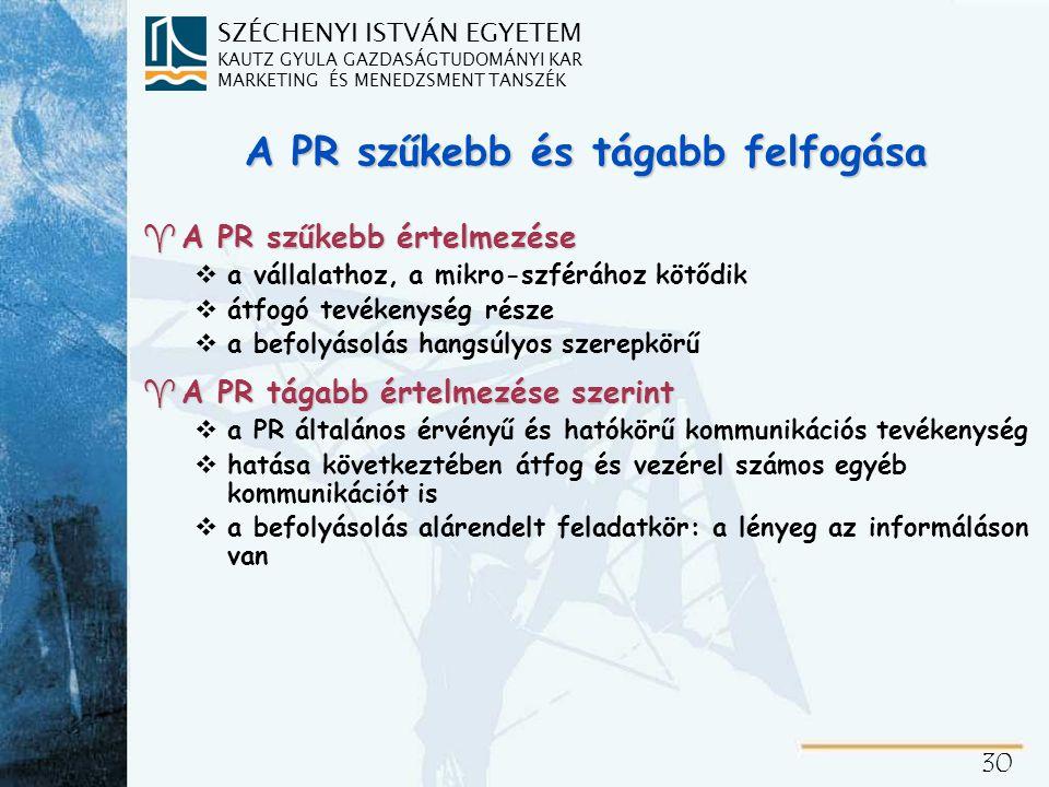 A PR tevékenység többszintű értelmezése a szervezeti kommunikációban