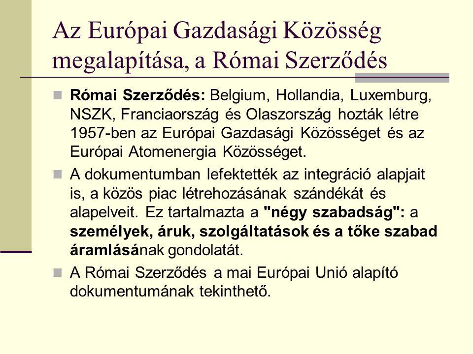 Az Európai Gazdasági Közösség megalapítása, a Római Szerződés
