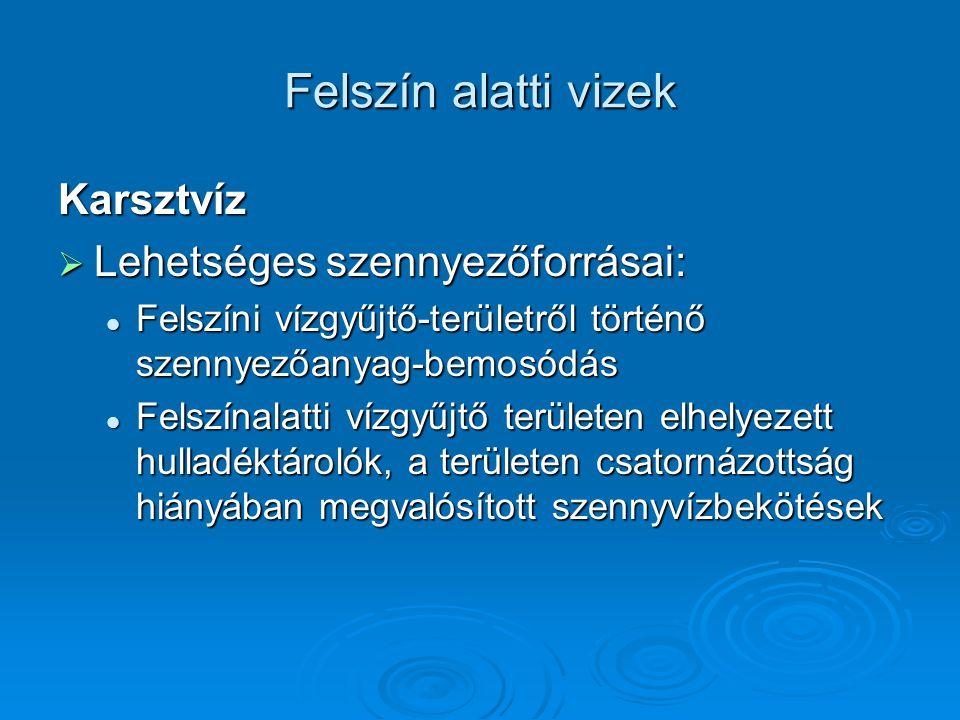 Felszín alatti vizek Karsztvíz Lehetséges szennyezőforrásai: