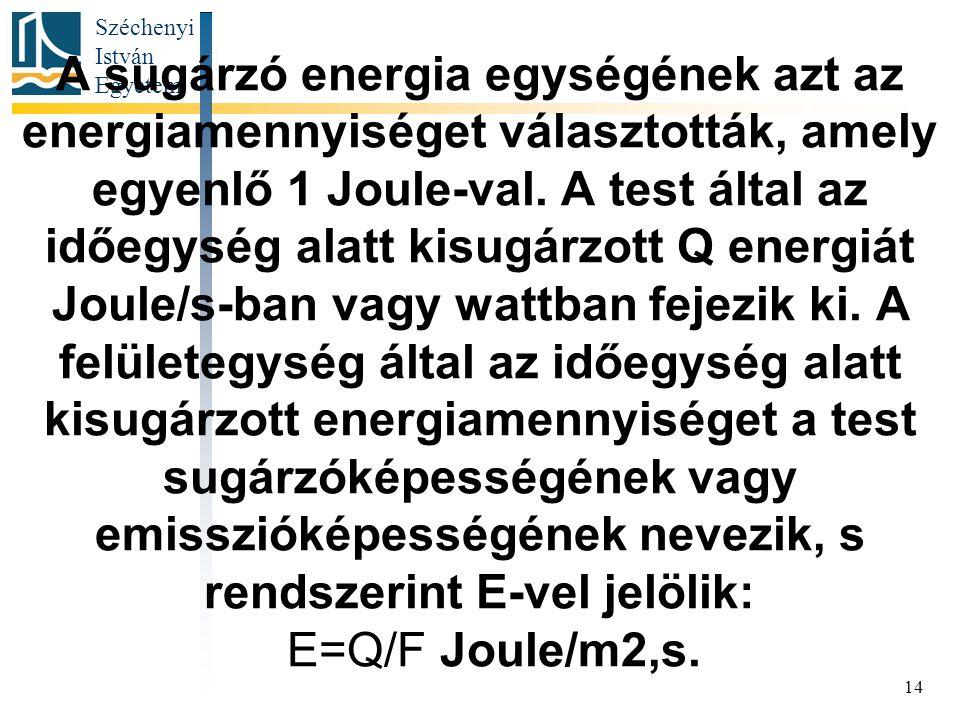 A sugárzó energia egységének azt az energiamennyiséget választották, amely egyenlő 1 Joule-val.