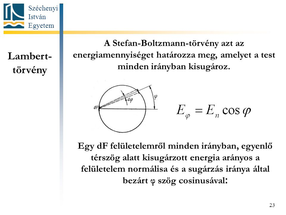 A Stefan-Boltzmann-törvény azt az energiamennyiséget határozza meg, amelyet a test minden irányban kisugároz.