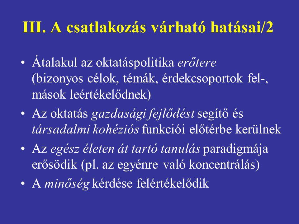 III. A csatlakozás várható hatásai/2