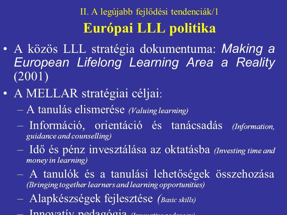 II. A legújabb fejlődési tendenciák/1 Európai LLL politika
