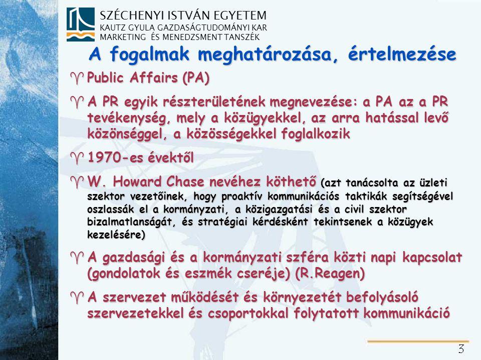 Public Affairs – közügyek – részterületei